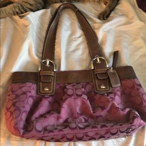 Plum Coach Shoulder Bag